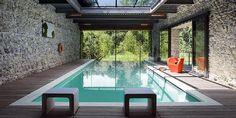 sleek indoor swimming pool design