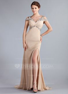 Evening Dresses - $166.99 - A-Line/Princess Off-the-Shoulder Sweep Train Chiffon Evening Dress With Beading (017022796) http://jjshouse.com/A-Line-Princess-Off-The-Shoulder-Sweep-Train-Chiffon-Evening-Dress-With-Beading-017022796-g22796?ver=xdegc7h0