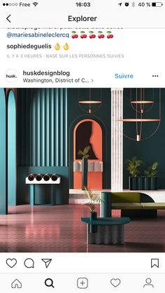 The pink seems reflected about the room. Deco Design, Cafe Design, Store Design, Hotel Room Design, Interior Design Living Room, Memphis Design, Paint Colors For Living Room, Retail Design, Restaurant Design