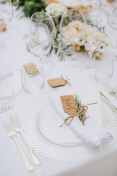 Clear Glass place Setting with Kraft paper Luggage Tag & Rosemary Herb | Anoushka G Bridal Gown | White Lace Bridesmaid Dresses | Classic Destination Wedding in Italy | Pastel Blooms | Al Fresco Dining & Festoon Lights | images by M&J Photography | http://www.rockmywedding.co.uk/julie-dean/