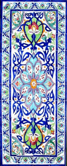 DECORATIVE PERSIAN TILES: Persian design mosaic panel hand painted kitchen bathroom pool patio backsplash wall mural art  48in x 30in