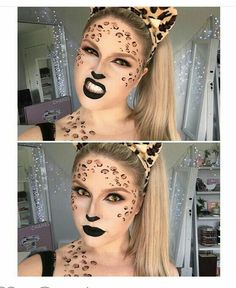 """Everyone has that one friend who dresses up as a sexy leopard/cat 😂💕 tutorial coming soon, I'm gonna film a different cat look right now hopefully and do…"" Cheetah Makeup, Fox Makeup, Animal Makeup, Tiger Makeup, Cheetah Halloween Costume, Cat Halloween Makeup, Halloween Make Up, Halloween Ideas, Tiger Costume"
