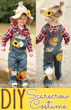 Terrific Pic Easy & Adorable DIY Scarecrow Costume That's Perfect for Kids & Adults! Suggestions Learn how to make this DIY Scarecrow Costume that works great for toddlers, kids, & adults! Toddler Scarecrow Costume, Halloween Costumes Scarecrow, Homemade Halloween Costumes, Last Minute Halloween Costumes, Toddler Costumes, Boy Costumes, Costume Ideas, Scarecrow Hat, Witch Costumes
