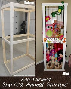 zoo themed stuffed animal storage DIY idea! A good, fun and cute way to organize the stuffed animals!