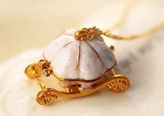 Elegant Necklace Pumpkin carriage Pendant Long Sweater Chain Cinderella