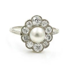 Diamond & Pearl in Platinum Cluster Ring