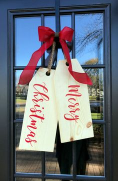 Large Wood Tags - Door Hanger - Door Tags - Merry Christmas - Christmas Wreath - Door Tags by Kreatme on Etsy https://www.etsy.com/listing/476260110/large-wood-tags-door-hanger-door-tags