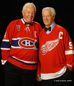 A Bob Fisher photo that's beyond brilliant: icon Gordie Howe, 87 today, w/ late legend Jean Béliveau Montreal Canadiens, Mtl Canadiens, Stars Hockey, Ice Hockey, Montreal Hockey, Hockey Pictures, Red Wings Hockey, Hockey Season, National Hockey League