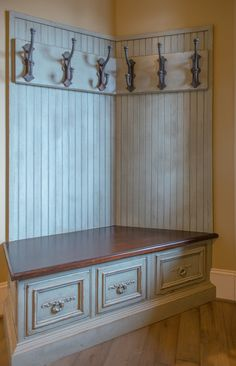 Why didn't I think of this- a corner hall tree! Reverse the short and long sides and it's perfect for our breezeway nook that I can't seem to find a good looking, narrow hall tree for. Habersham Mudroom Cabinetry at Cliffs at Mountain Park Model Home
