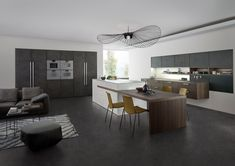 Add character to your kitchen with LEICHT Topos Concrete kitchen and its designer units - Elan Kitchens, Fulham London's finest kitchen showroom! Kitchen World, Huge Kitchen, Open Plan Kitchen, Kitchen Showroom, Kitchen Interior, Kitchen Furniture, Cool Furniture, Concrete Kitchen, Design Moderne