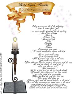 Basic Spell Formula (Use to Create Your Own Incantations) Wiccan Spells, Candle Spells, Magic Spells, Witchcraft, Charmed Spells, Easy Spells, Charmed Tv, Feng Shui, Charmed Book Of Shadows