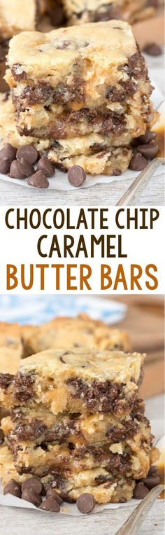 Chocolate Chip Caramel Butter Bars Recipe via Crazy for Crust - easy sugar cookie bars filled with chocolate chips and sandwiched with gooey caramel sauce! These gooey bars are SO addicting.