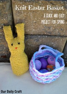 This knit Easter basket is a really quick and easy project that can hold a handful of eggs or a little cache of yarn oddballs when the season is done.