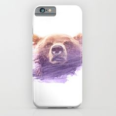 BEAR SUPERIMPOSED WATERCOLOR phone case - A great head of a bear, superimposed with a beautiful yellow/purple watercolor brush stroke. Bears can be found on mountains and in Forrest's. A great animal with great strength and power. photography digital digital-manipulation double-exposure vintage bear purple brown watercolor superimposed animal double-exposure room photography paint