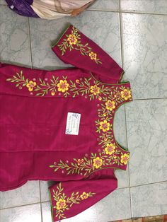 Sudhasri hemaswardrobe Embroidery Suits Punjabi, Embroidery On Kurtis, Hand Embroidery Dress, Kurti Embroidery Design, Embroidery Neck Designs, Embroidery Fashion, Kids Blouse Designs, Saree Blouse Neck Designs, Dress Neck Designs