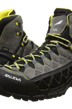 SALEWA Alp Flow Mid GTX (Smoke/Yellow) Men's Shoes - SALEWA, Alp Flow Mid GTX, 63424, Footwear Athletic General, Athletic, Athletic, Footwear, Shoes, Gift, - Street Fashion And Style Ideas