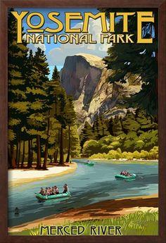 Merced River Rafting - Yosemite National Park, California Prints by Lantern Press - AllPosters.ca Yosemite California, California National Parks, California Art, Yosemite National Park, California Travel, Vintage California, Vintage Hawaii, National Forest, Old Poster