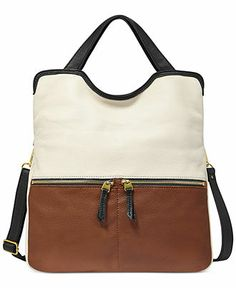 Fossil Handbag, Erin Leather Tote - Fossil Handbags - Handbags & Accessories - Macy's  $198