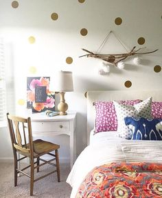 A beautiful & colorful room accented with our gold polka dots make for a peaceful  retreat for @housesevenblog ❤️❤️