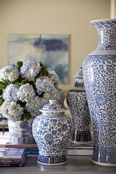 Classic blue and white vases with hydrangeas. Shadow Valley - Tobi Fairley Interior Design.