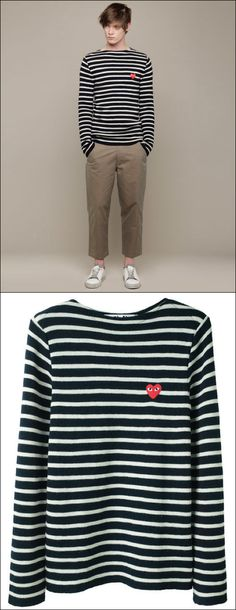 Comme Des Garçons Play  Mens Nautical Sweater stripes cropped khaki tan pants white sneakers mens style blog