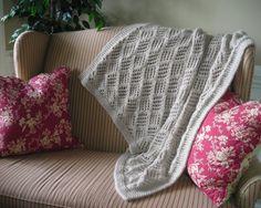 Knitted Throw Blanket PDF Knitting pattern by lavenderhillknits