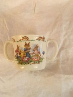 Vintage Royal Doulton Bunnykins 1936 Double Handle Mug Child's Cup English Bone  | eBay