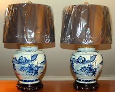 Different shades, like the lamps.  PAIR Chinese Blue & White VASE Ginger Jar Lamps Kangxi Style [PAIR 4-G] Ginger Jar Lamp, Ginger Jars, Blue And White Vase, White Vases, Lamps, Candle Holders, Chinese, Pottery, Shades