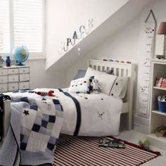 Boys bedroom - astronaut theme, from The White Company #BooksToBed #StoryRooms #CharacterDesign #FantacyBedroom