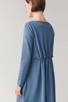 LONG ELASTIC-WAIST DRESS - Light Blue - Dresses - COS Light Blue Dresses, Fabric Manipulation, Elastic Waist, Personal Style, Cos, Women Wear, High Neck Dress, Long Sleeve, Casual