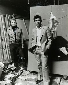 Francis Bacon and John Edwards in 7 Reece Mews. Photo: Edward Quinn