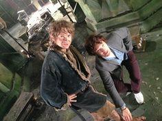 Martin Freeman & Benedict Cumberbatch on 'The Hobbit' set
