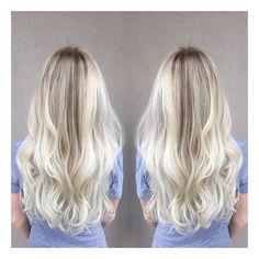 BRIGHT BLONDE \\ by @brookeclaxtonhair #kerastase #blonde #ombre #curls #fayettevillear #deadswanky #coolblonde