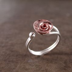 Rose ring Copper  Sterling silver  adjustable  floral fashion. $29.00, via Etsy.