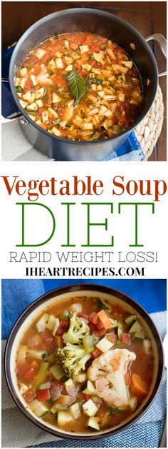 7 day vegetable soup diet recipe for rapid weight loss. Made with low glycemic i… 7 day vegetable soup diet recipe for rapid weight loss. Made with low glycemic ingredients such as broccoli, cauliflower, peppers, and more. Diet Soup Recipes, Vegetarian Recipes, Cooking Recipes, Healthy Recipes, Vegetarian Italian, Juice Recipes, Vegetable Soup Diet, Vegetable Ideas, Vegetable Recipes