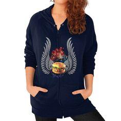 Flying Burger Zip Hoodie (on woman)
