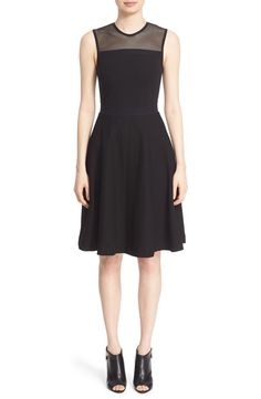 Burberry Burberry 'Daniele' Mesh Yoke Fit & Flare Dress available at #Nordstrom