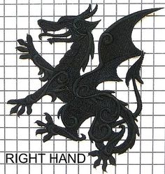 Heraldic Style Dragon Embroidered Motif/Patch/Appliqué - Lots Of Colour Choices