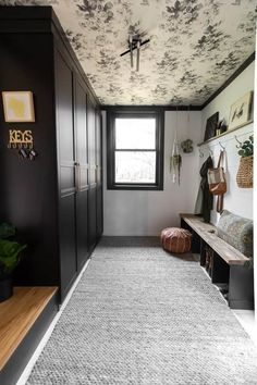 Floral Modern Mudroom with Black Wardrobes Floral Modern Mudroom with Black Wardrobes Stephanie Kimberly stephchen Haus 194 Mudroom with Wallpapered Ceiling Mudroom with Ikea Pzx Wardrobe nbsp hellip Ceiling ideas Ikea Pax Wardrobe, Black Wardrobe, Bedroom Wardrobe, Built In Wardrobe, Master Bedroom, Bedroom Decor, Wallpaper Marvel, Of Wallpaper, Wallpaper Ceiling Ideas