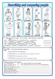 English worksheet: Describing and comparing people