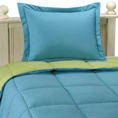 (Click to order - $24.99) microfiber down alternative comforter set full/qeen teal/lime 86x92 From Aeolus Down