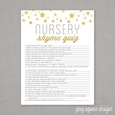 Nursery Rhyme Quiz - Baby Shower Game - Gold Stars by GreySquare on Etsy https://www.etsy.com/listing/201552823/nursery-rhyme-quiz-baby-shower-game-gold
