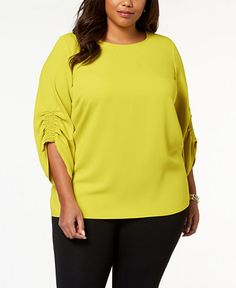 f024ab9b6fdf5 Alfani Plus Size Smocked-Sleeve Top