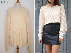 before & after DIY Cropped Knit