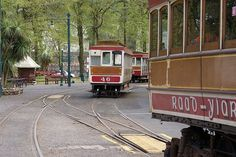 Trams at Laxey Station