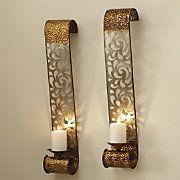2 Piece Glastonbury Laser Cut Wall Candle Sconce Set