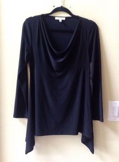 NWT CHAUS NEW YORK SOLID BLACK POLY/SPANDEX LONG SLEEVE SHARKBITE BLOUSE SZ M #CHAUS #Blouse