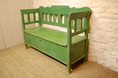 Antique Country Box Settle/ Bench/ Original Paint | 221597 | www.cottage-antiques.com Storage Benches, Bench With Storage, Antique Photos, Cottage, The Originals, Country, Antiques, Box, Green