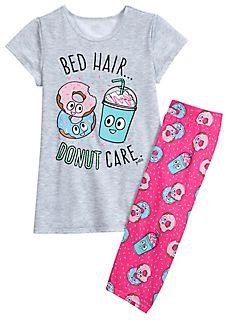Donut Cropped Legging Pajama Set