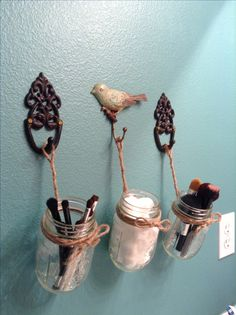 Mason Jar ideas for bathroom :)